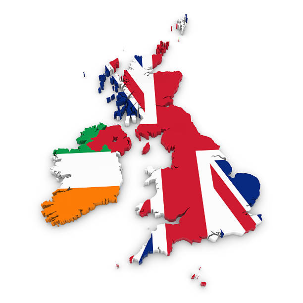 Outline of the United Kingdom and Ireland textured with Flags stock photo