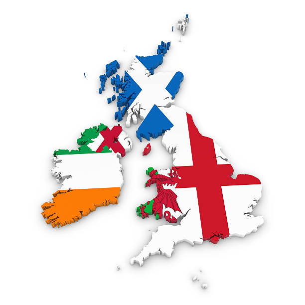 Outline of the United Kingdom and Ireland with National Flags stock photo