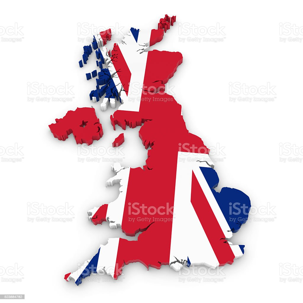 3d outline of the united kingdom textured with uk flag stock photo