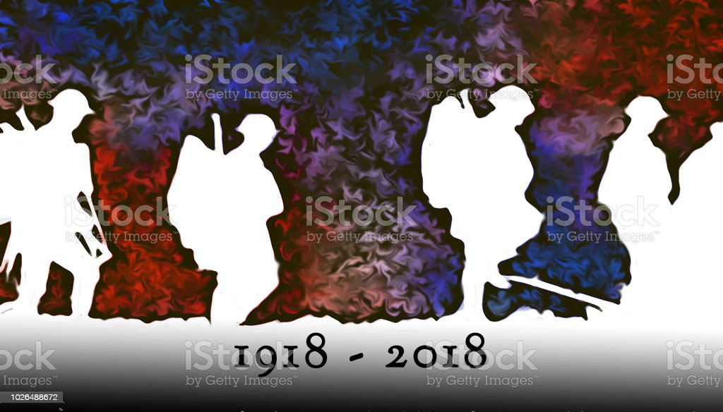 Outline of WWI soldiers walking over colorful blasts at night stock photo