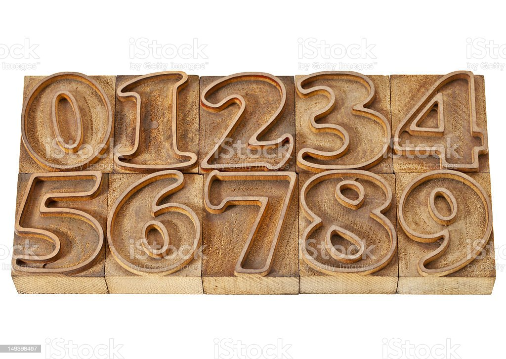 outlined numbers in wood type royalty-free stock photo