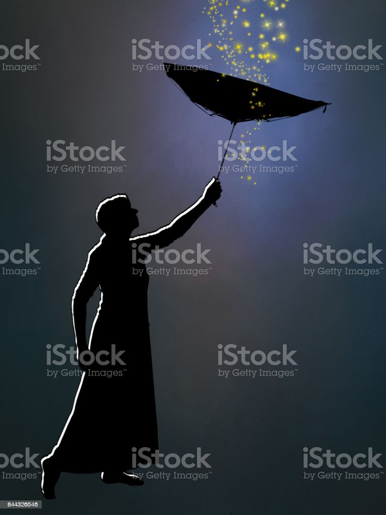 Outlined silhouette of woman in long skirt with inside out umbrella, catching dreams, falling stars. stock photo