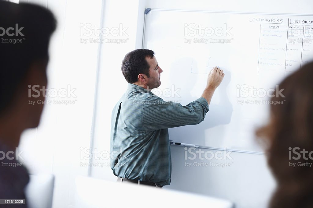 Outlining the project for his employees royalty-free stock photo
