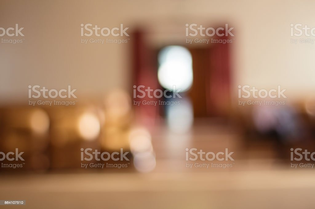 Out-of-focus shimmering background of a concert hall stage set . royalty-free stock photo