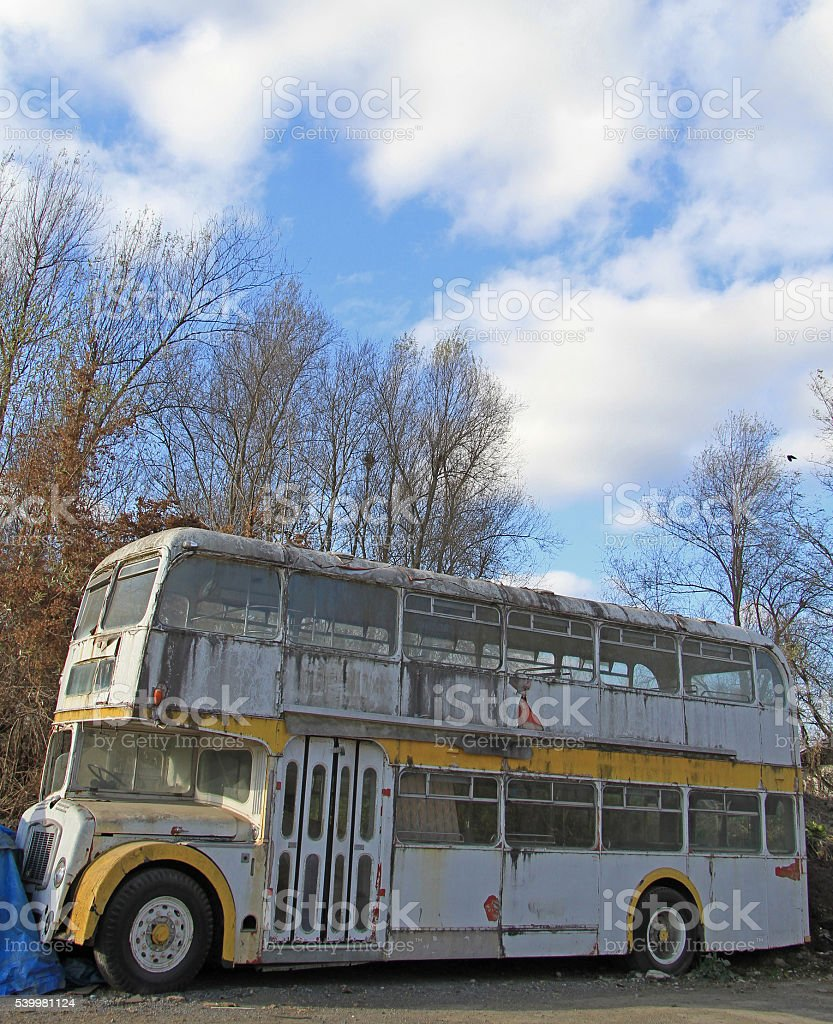 out-of-operation double floor bus on the street in Ljubljana royalty-free stock photo