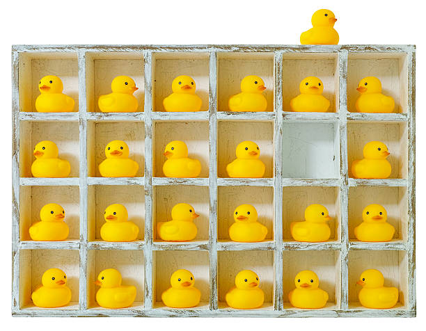 out-of-the-box design idea, rubber ducks in pigeon holes. - kreativer speicher stock-fotos und bilder
