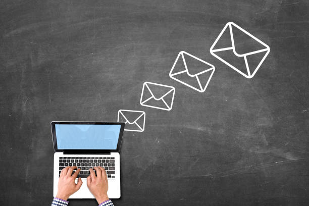 Outoing emails stock photo