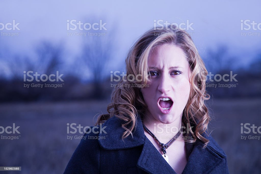 Outraged Young Woman stock photo