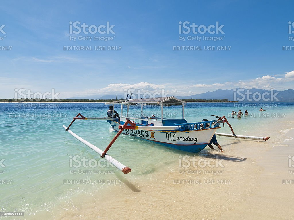 Outrigger boat Gili Islands, Indonesia stock photo
