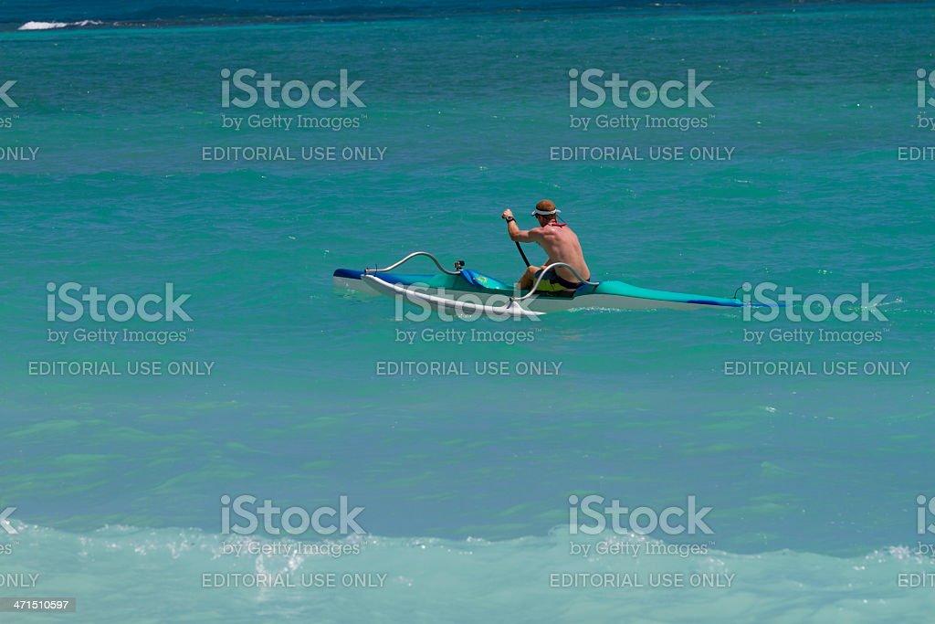 Outrigger Canoe in Kailua beaches, Oahu, Hawaii royalty-free stock photo