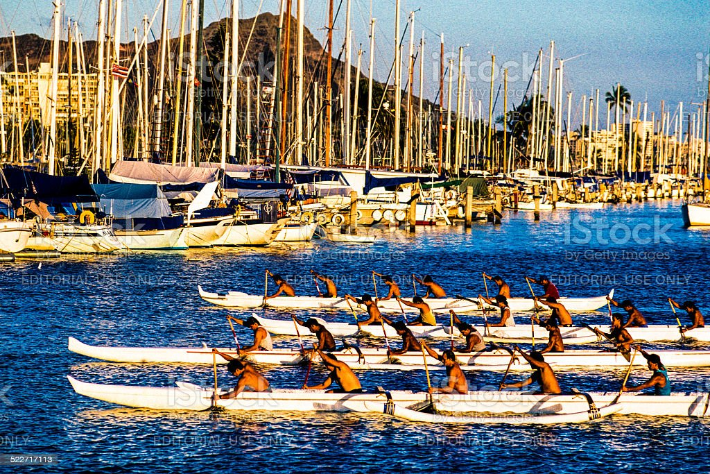 Outrigger canoe paddling at the Ala Wai Harbor stock photo