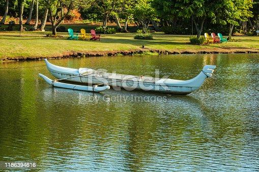 Outrigger Canoe on the water, Kauai in Hawaii.