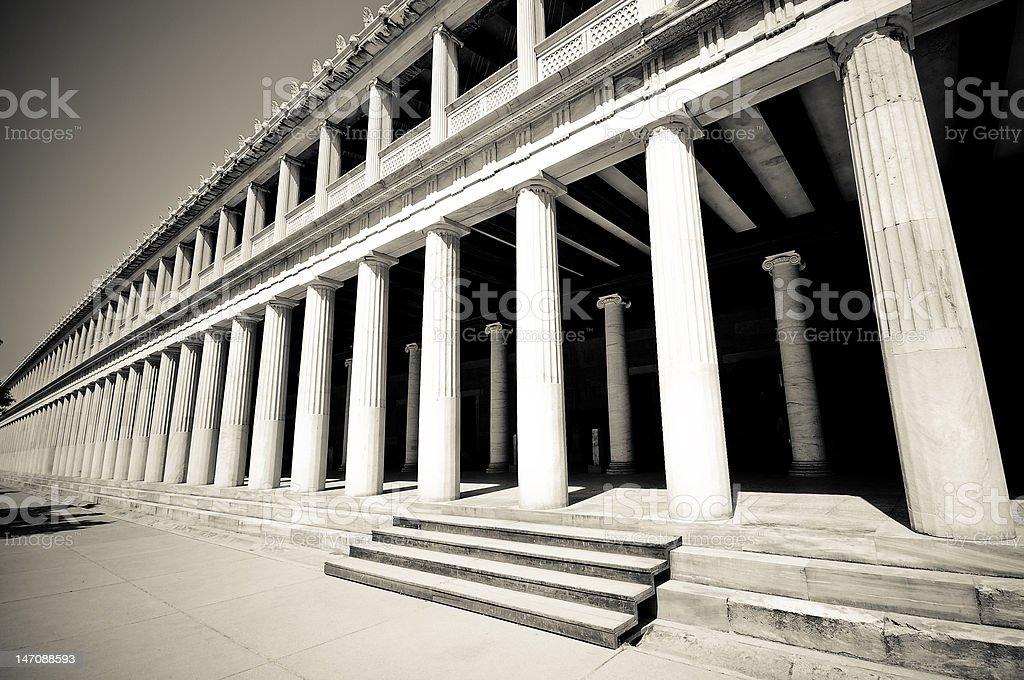 Outside columns at Stoa of Attalos, Athens, Greece royalty-free stock photo