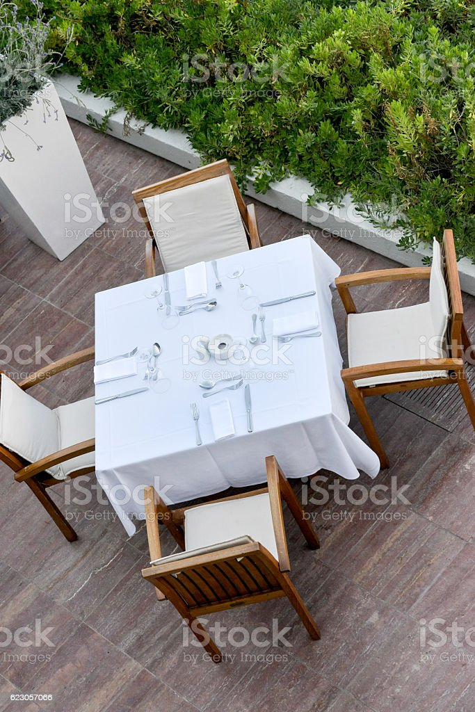 Outside dining area stock photo