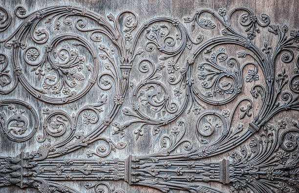 outside door ornament - notre dame, paris, france - gothic style stock pictures, royalty-free photos & images