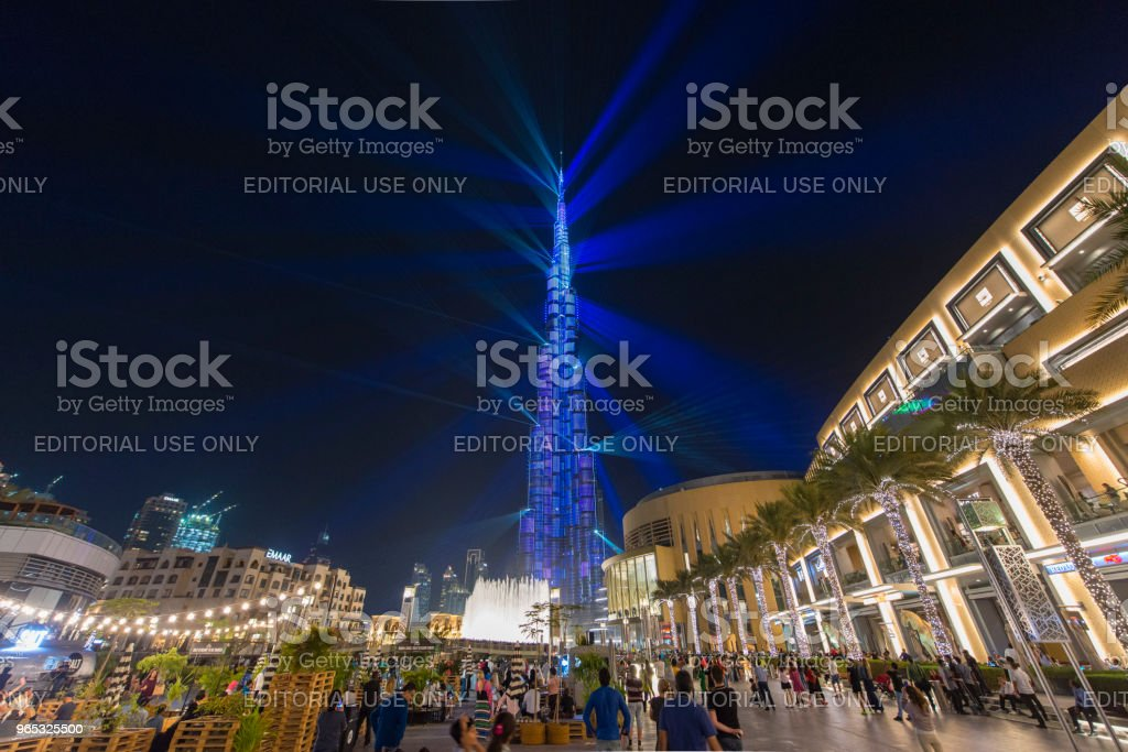Outside Dubai mall in the evening royalty-free stock photo