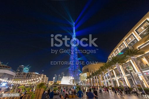 Outside Dubai Mall In The Evening Stock Photo & More Pictures of Aerial View