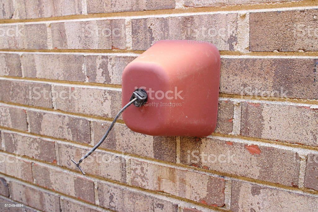 Outside Faucet Cover Protection From Freezing On Brick Wall Winter ...