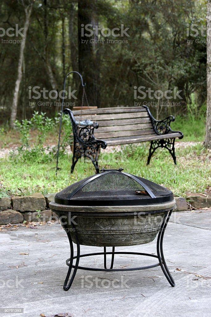 Outside fireplace stock photo