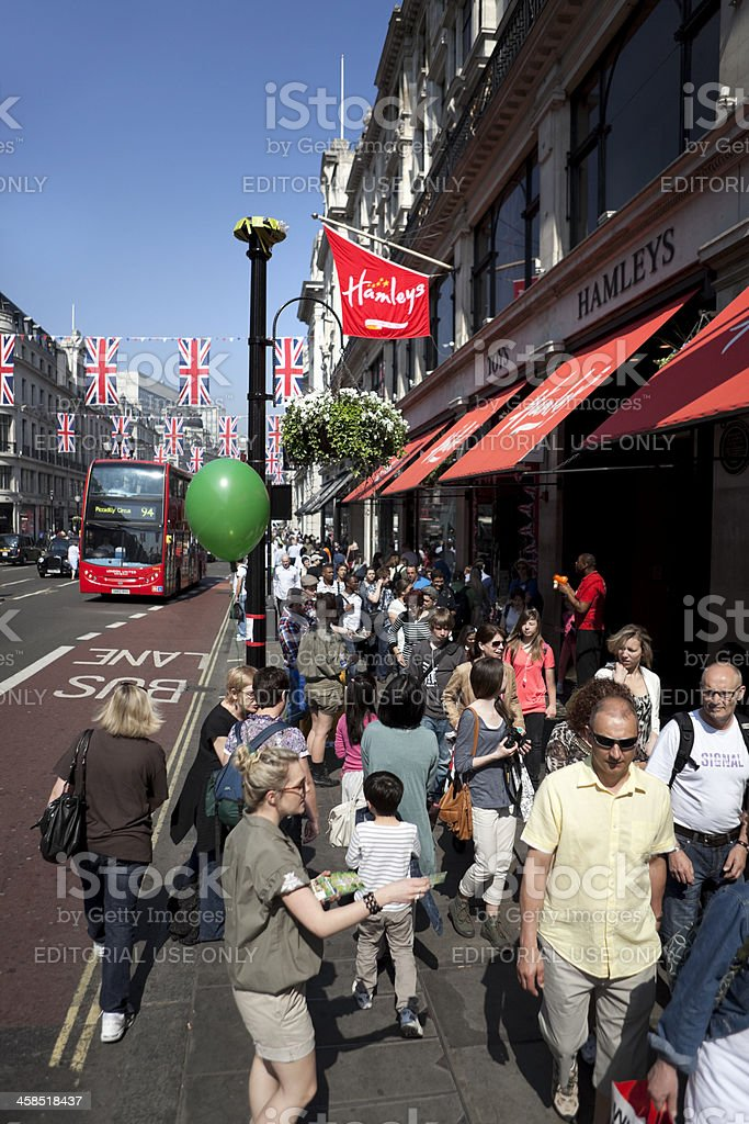 Outside Hamleys Toy Shop on Regent Street, London, England. stock photo