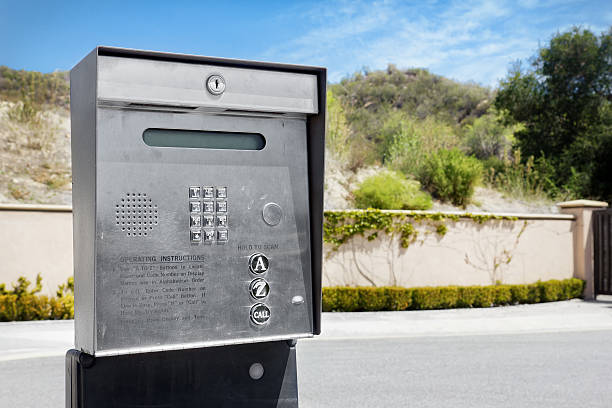 Outside Intercom Security Intercom used for a gated community. gated community stock pictures, royalty-free photos & images
