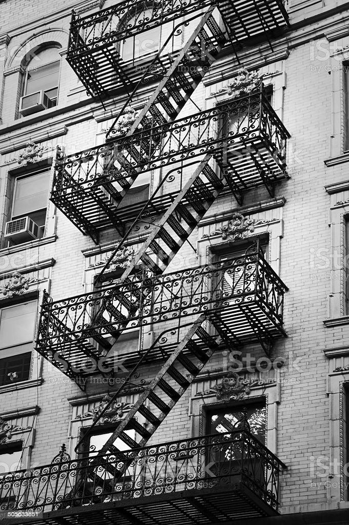 Outside Metal Fire Escape Stairs, New York City, USA Royalty Free Stock  Photo