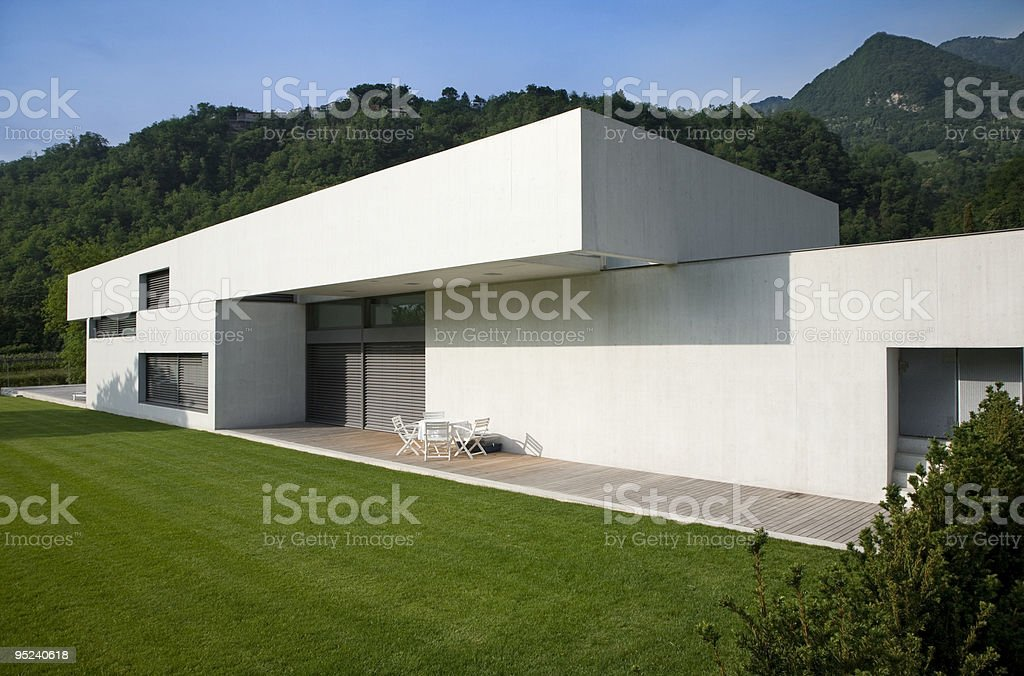 Outside of a white modern house royalty-free stock photo