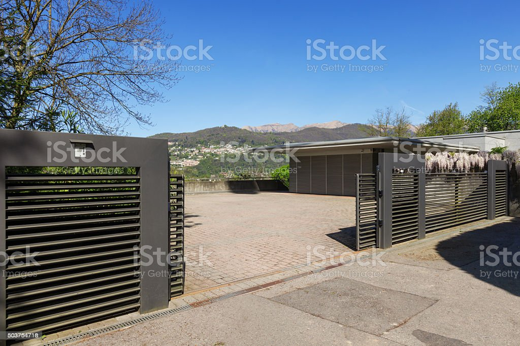 Outside of modern house in summer stock photo