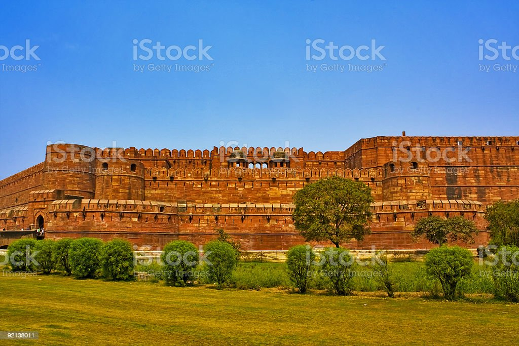 Outside of the Red Fort in Agra, India stock photo