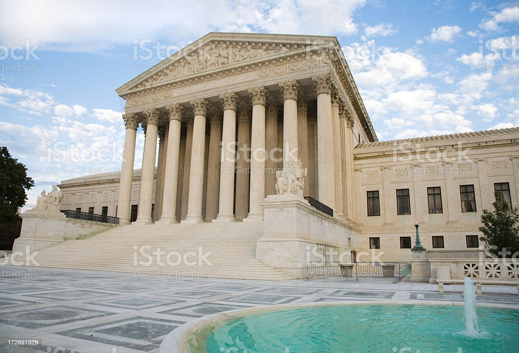 Outside of the US Supreme Court Building in Washington, DC  royalty-free stock photo
