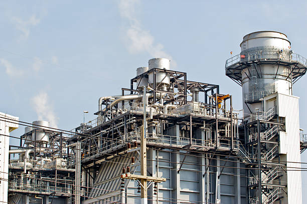 Outside photo of a natural gas combined cycle power plant stock photo