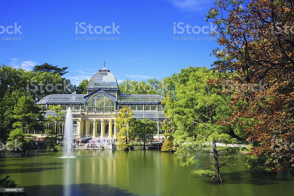 Outside picture of crystal palace with blue sky