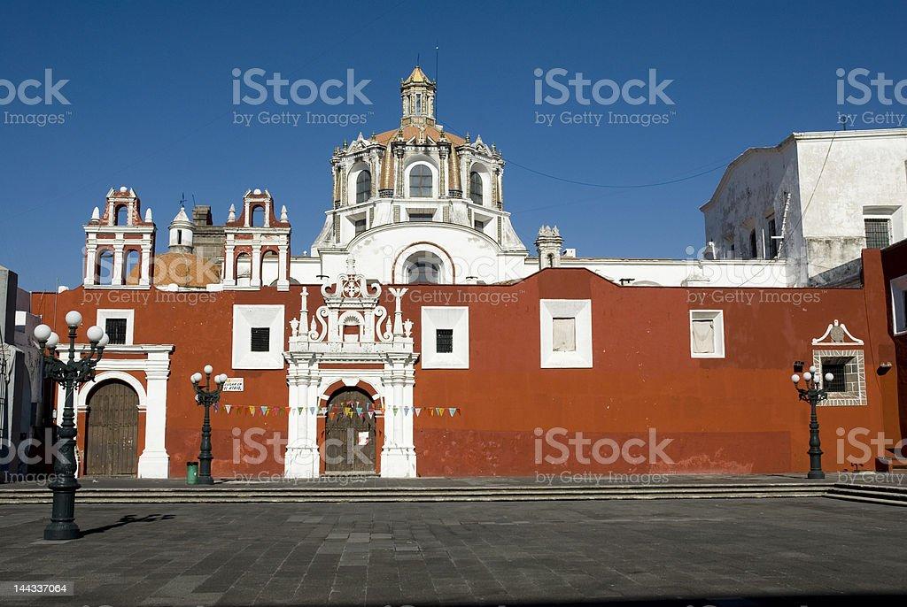 Outside saint domingo guzman church in Puebla stock photo