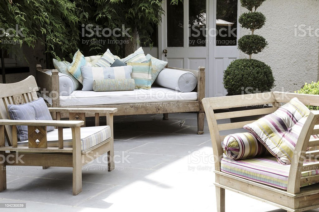 Outside seating stock photo