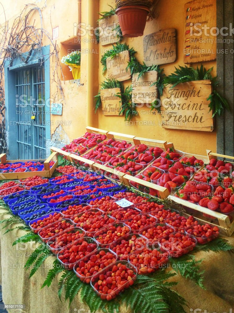 Outside Stall of a Berry Shop in Nemi, Rome, Italy stock photo