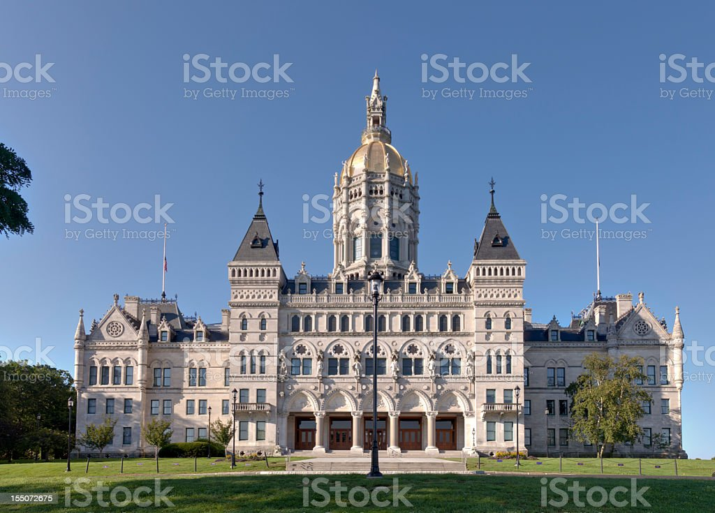 Outside structure of Connecticut State Capitol building stock photo
