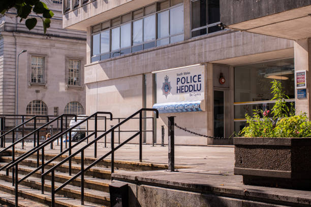 Outside the Cardiff central police headquarters on King Edward VII Avenue Outside the Cardiff central police headquarters on King Edward VII Avenue south wales stock pictures, royalty-free photos & images