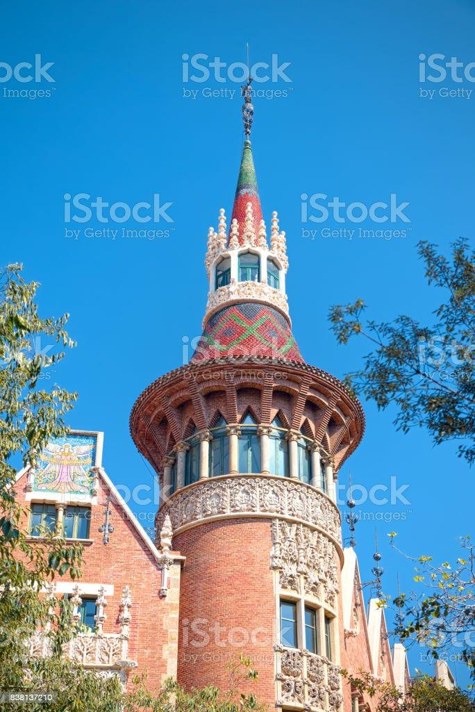 Outside the Casa Terrades (Casa de les Punxes) Barcelona stock photo