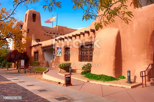 Outside the New Mexico Museum of Art on W Palace Street in downtown Santa Fe, New Mexico USA