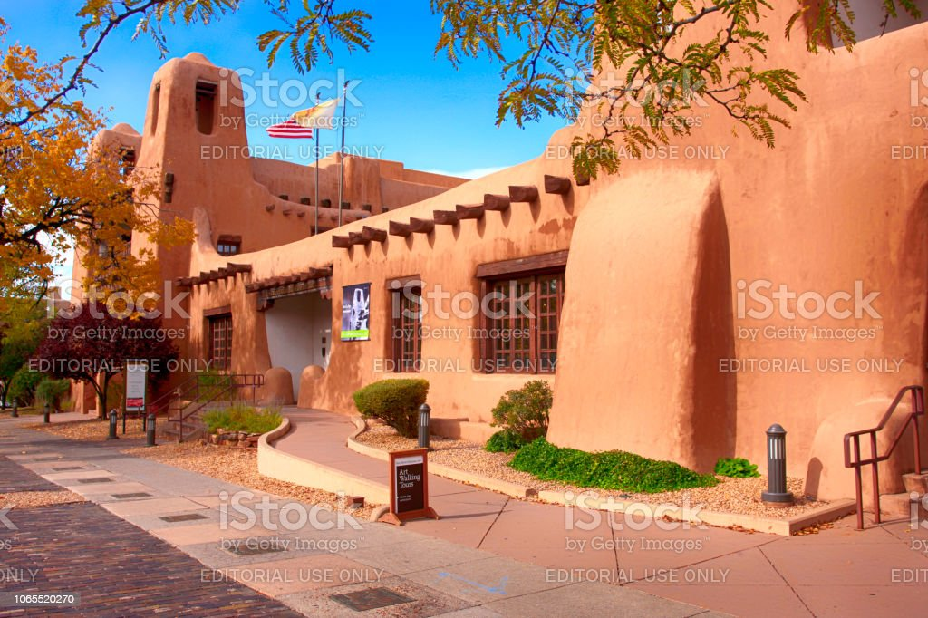 Outside the New Mexico Museum of Art on W Palace Street in downtown Santa Fe, New Mexico USA stock photo