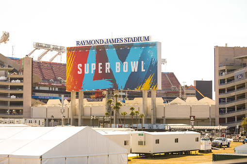 Outside the stadium of Super Bowl LV at the Raymond James Stadium in Tampa, Florida January 21, 2021