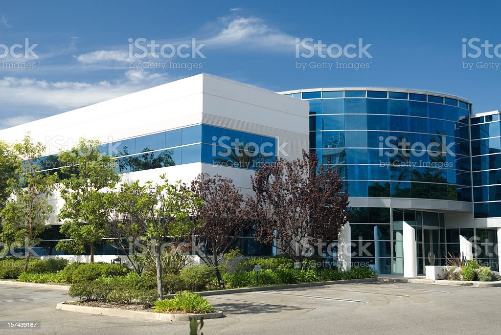 Outside view of a office building with blue windows royalty-free stock photo