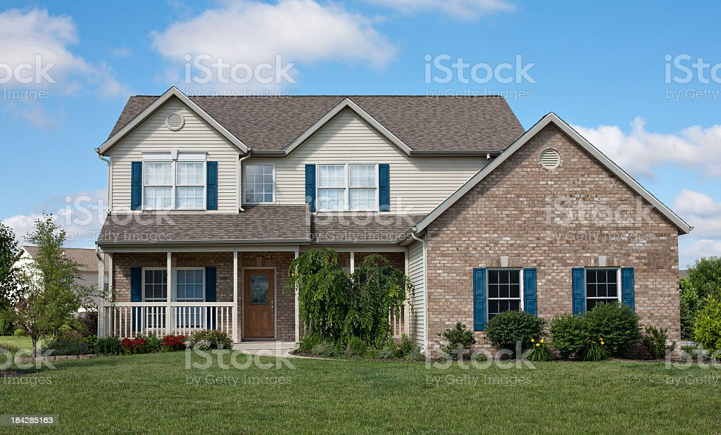 Outside View Of A Suburban House Royalty Free Stock Photo
