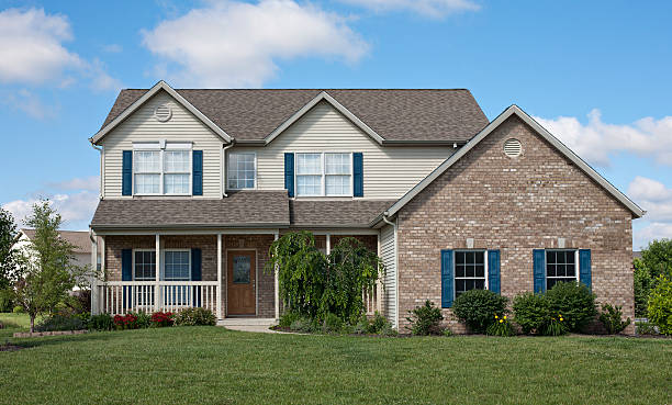 Outside view of a suburban house stock photo