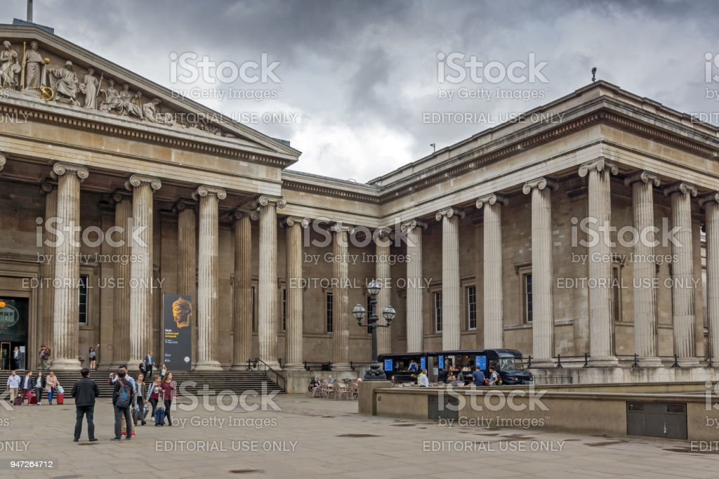 Outside view of British Museum, City of London, England, Great Britain stock photo
