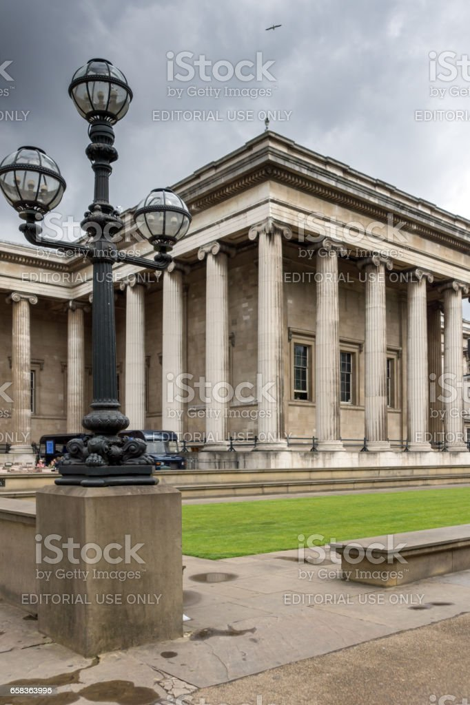 LONDON, ENGLAND - JUNE 16 2016: Outside view of British Museum, City of London, England stock photo