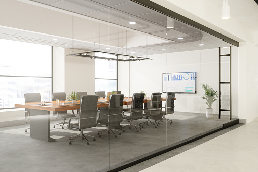 Outside View Of Empty Meeting Room With Table And Office Chairs