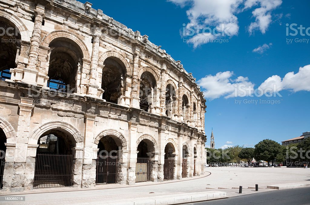 Outside view of France's Roman Colosseum Nimes stock photo