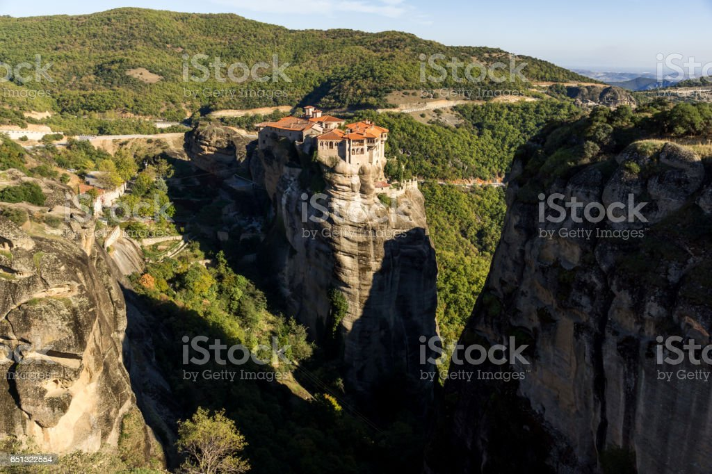 Outside view of Holy Monastery of Varlaam in Meteora, Greece stock photo