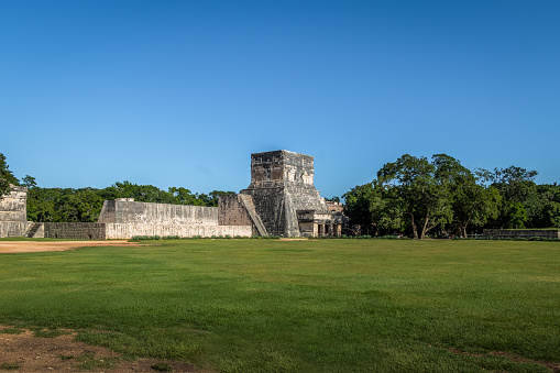 Outside view of the ball game court (juego de pelota) at Chichen Itza Mayan Ruins - Yucatan, Mexico
